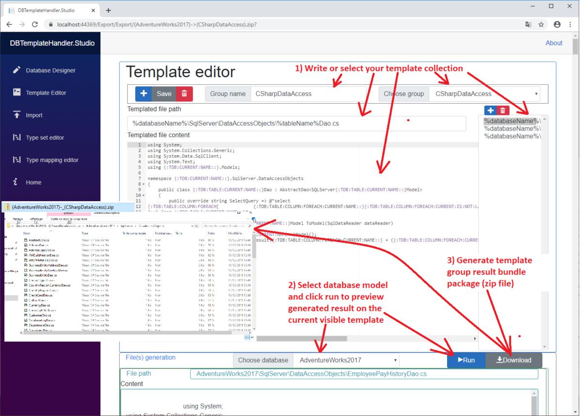 Database Template Handler Project